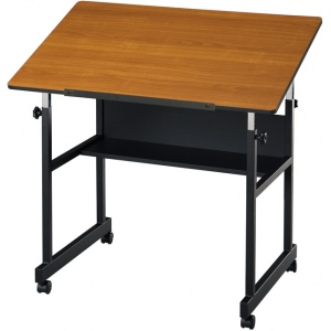 "Alvin® MiniMaster™ Table Black Base with Woodgrain Top: 0 - 30, Black/Gray, Steel, 27"" - 40"", Brown, 24"" x 36"", (model MM36-3-WBR), price per each"