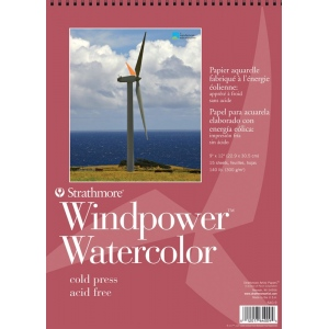 "Strathmore® Windpower™ 9"" x 12"" Cold Press Wire Bound Watercolor Pad: Wire Bound, White/Ivory, Pad, 15 Sheets, 9"" x 12"", Cold Press, 140 lb, (model ST640-9), price per 15 Sheets pad"
