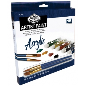 Royal & Langnickel® 12ml Acrylic Paint 18-Color Set: Multi, Tube, 12 ml, Acrylic, (model RACR18), price per set