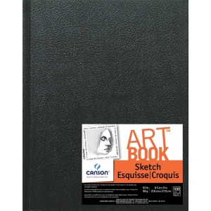 "Canson® ArtBook™ Artist Series 8.5"" x 11"" Hardbound Sketchbook: Sewn Bound, White/Ivory, Book, Black/Gray, 108 Sheets, 8 1/2"" x 11"", Sketching, 65 lb"