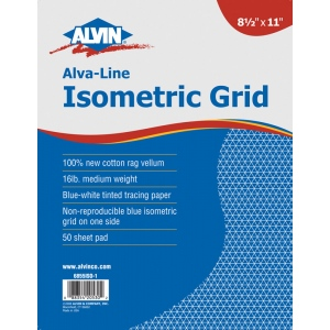 "Alvin® Alva-Line Isometric Grid Pad 8.5"" x 11"": Isometric, 50 Sheets, 8 1/2"" x 11"", Tracing, 16 lb, (model 6855ISO-1), price per 50 Sheets pad"
