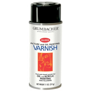 Grumbacher® Damar Gloss Varnish Spray for Oil and Acrylics 11oz: Gloss, Spray Can, 11 oz, Acrylic, Oil, Varnish, (model GB541), price per each