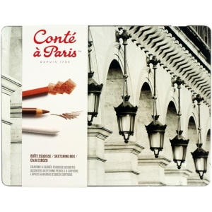 Conte™ Sketching Metal Tin Box: Multi, Drawing, (model C2185), price per set