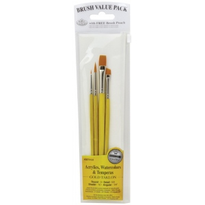 Royal & Langnickel® 9100 Series  Zip N' Close™ Yellow 4-Piece Brush Set Set 5: Short Handle, Taklon, Angular, Detail, Round, Shader, Acrylic, Tempera, Watercolor, (model RSET-9123), price per set