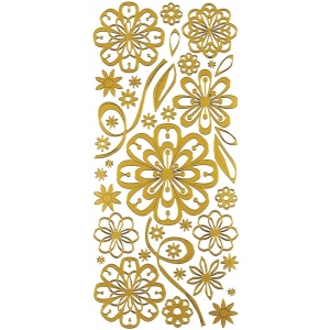 "Dazzles™ Stickers Daisy Gold: Metallic, 4"" x 9"", Outline, (model HOTP2027), price per each"