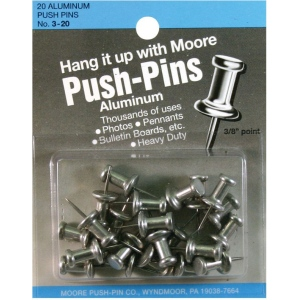 "Moore 3/8"" Push-Pins 20-Pack: 3/8"", (model M3-20), price per pack"