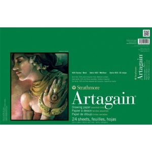 "Strathmore® Artagain® 400 Series 12"" x 18"" Assorted Tints Glue Bound Pad: Glue Bound, Assorted, Pad, 24 Sheets, 12"" x 18"", 60 lb"