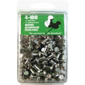 "Moore 1/2"" Push-Pins 100-Pack: 1/2"", (model M4-100), price per box"