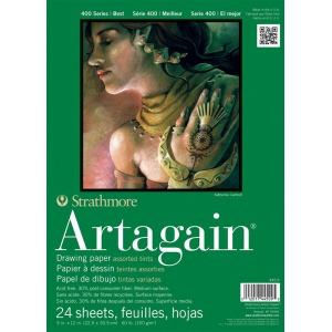 "Strathmore® Artagain® 400 Series 9"" x 12"" Assorted Tints Glue Bound Pad: Glue Bound, Assorted, Pad, 24 Sheets, 9"" x 12"", 60 lb"