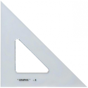 "Alvin® 4"" Academic Transparent Triangle 45°/90°: 45/90, Clear, Polystyrene, 4"", Triangle"