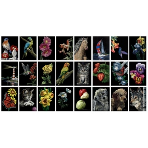 "Ampersand Scratchbord Kit: Happy Buds, 5"" x 7"", Case of 12"