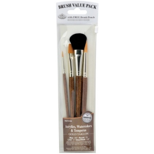 Royal & Langnickel® 9100 Series Zip N' Close™ Brown 4-Piece Brush Sets