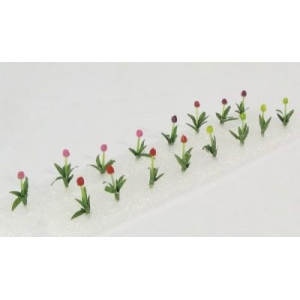 "Wee Scapes™ Architectural Model Tulips: Multi, 150 sq in, Poly Fiber, Turf, 16-Pack, 1/2"", Flowers, (model WS00307), price per 16-Pack"