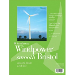 "Strathmore® Windpower™ Tape Bound Bristol Pad 11"" x 14"": Tape Bound, White/Ivory, Pad, 15 Sheets, 11"" x 14"", Smooth, 100 lb, (model ST642-11), price per 15 Sheets pad"