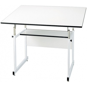 "Alvin® WorkMaster® Jr. Table White Base White Top 36"" x 48"": 0 - 35, White/Ivory, Steel, 29"" - 44"", White/Ivory, Melamine, 36"" x 48"", (model WMJ48-4-XB), price per each"