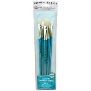 Royal & Langnickel® 9100 Series Zip N' Close™ Teal Blue 6-Piece Brush Sets