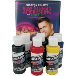 Createx™ Airbrush Primary 6-Color Set with DVD: Multi, Bottle, 2 oz, Airbrush, (model 5812-00), price per set