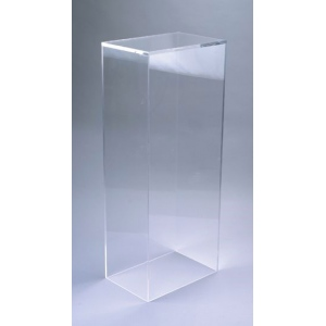 "Xylem Clear Acrylic Pedestal: Table Top, 9"" x 9"" Base, 21"" Height"