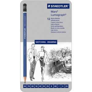 Lumograph® Drawing Pencil 12-Pack: Black/Gray, Drawing