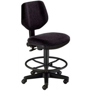 "Alvin® Black Comfort Classic Deluxe Drafting Height Task Chair: No, Black/Gray, Foot Ring Included, 24"" - 29"", 30"" & Up, Fabric, (model CH290-40DH), price per each"