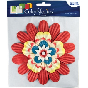 "Blue Hills Studio™ ColorStories™ Handmade Paper Stacked Flowers Red: Red/Pink, Paper, 6"", Dimensional"