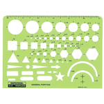 "Rapidesign® General Purpose Template: 6 1/2"" x 4 3/4"" x .030"", General Purpose, (model 12R), price per each"