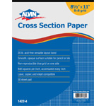 "Alvin® Cross Section Paper 8"" x 8"" Grid 50-Sheet Pad 8-1/2"" x 11"": Pad, 8"" x 8"", 50 Sheets, 8 1/2"" x 11"", Drawing, 20 lb, (model 1422-4), price per 50 Sheets pad"