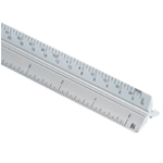 "Alvin® 2200M Series 12"" Aluminum Architect Triangular Scale: White/Ivory, Aluminum, 12"", Architect"
