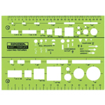 "Rapidesign® Lighting Fixtures Template: 1/8"" and 1/4"" = 1', (model 327R), price per each"