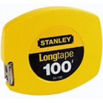 Stanley® 100' Longtape measure: White/Ivory, Steel, 100', Tape Measure, (model 34106), price per each