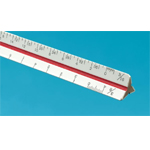 "Alvin® 40 Series 4"" Mini Hardwood Metric Triangular Scale: White/Ivory, Wood, 10 cm, Metric, (model 47MTS), price per each"