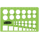 "Rapidesign® Bolts & Nuts Template: 5"" x 7 5/8"" x .030"", Mechanical, (model 57R), price per each"