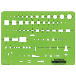 "Rapidesign® Power and Light Template: 5 1/2"" x 7 1/2"" x .030"", Electric/Electronic, (model 62R), price per each"