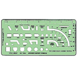 "Timely® Accident Report Symbols Template: 3 1/8"" x 6 5/8"" x .020"", Electric/Electronic, (model 644T), price per each"