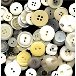 "Buttons Galore & More Button Bonanza Grab Bag Ivory: White/Ivory, Plastic, Round, 3/8"" - 1"", (model BB18), price per each"
