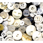 "Buttons Galore & More Button Bonanza Grab Bag White: White/Ivory, Plastic, Round, 3/8"" - 1"", (model BB20), price per each"