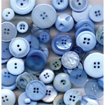 "Buttons Galore & More Button Bonanza Grab Bag Ocean Blue: Blue, Plastic, Round, 3/8"" - 1"", (model BB22), price per each"