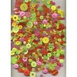 "Buttons Galore & More Button Bonanza Grab Bag Fiesta: Green, Plastic, Round, 3/8"" - 1"", (model BB61), price per each"