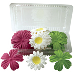 "Blue Hills Studio™ Irene's Garden™ Box O'Blooms Flower Pack Hot Pink/Yellow/Lime: Multi, Paper, 2""+, Dimensional, (model BHS10752), price per pack"