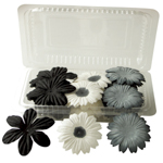 "Blue Hills Studio™ Irene's Garden™ Box O'Blooms Flower Pack Black/White/Gray: Multi, Paper, 2""+, Dimensional, (model BHS10754), price per pack"