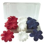 "Blue Hills Studio™ Irene's Garden™ Box O'Blooms Flower Pack Red/White/Blue: Multi, Paper, 2""+, Dimensional, (model BHS10758), price per pack"