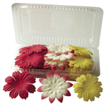 "Blue Hills Studio™ Irene's Garden™ Box O'Blooms Flower Pack Red/Cream/Yellow: Multi, Paper, 2""+, Dimensional, (model BHS10759), price per pack"