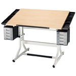 "Alvin® CraftMaster™ II Deluxe Art Drawing and Hobby Table White Base with Maple Woodgrain Top: 0 - 30, White/Ivory, Steel, 28"" - 32"", White/Ivory, Wood, 28"" x 40"""