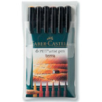 Faber-Castell® PITT® Artist Brush Pen Terra 6-Color Set: Brown, Orange, India, Pigment, Brush Nib, Brush Pen, (model FC167106), price per set