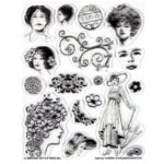 "Hot Off the Press Clear Acrylic Stamp Set Vintage Ladies: Acrylic, No, 5 1/2"" x 7"", (model HOTP1015), price per each"