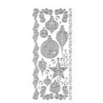 "Dazzles™ Stickers Silver Ornaments: Metallic, 4"" x 9"", Outline"