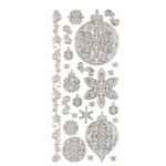 "Dazzles™ Stickers Silver Ornament: Metallic, 4"" x 9"", Outline, (model HOTP1887), price per each"