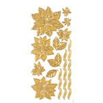 "Dazzles™ Stickers Gold Poinsettias: Metallic, 4"" x 9"", Outline, (model HOTP1890), price per each"