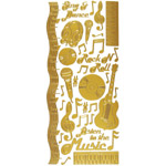 "Dazzles™ Stickers Music Gold: Metallic, 4"" x 9"", Outline, (model HOTP2018), price per each"