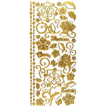 Dazzles Stickers Whimsical Flowers Gold